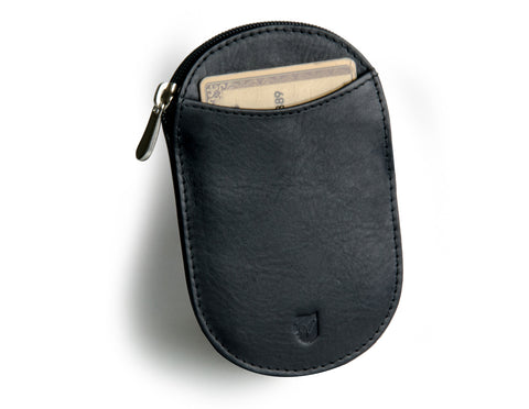 """Novelty"" - Vegetable Tanned Leather RFID-blocking Coin Wallet (black)"