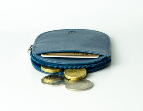 """Novelty"" - Vegetable Tanned Leather RFID-blocking Coin Wallet (blue)"