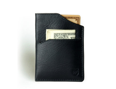 """Mirage"" - Vegetable Tanned Leather RFID-blocking Mini Wallet (black)"