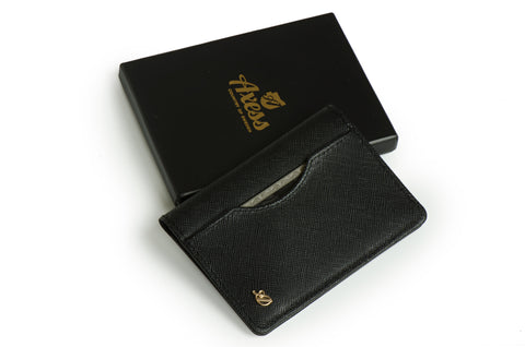 Long slim wallet 'Uptown' (Saffiano black color)