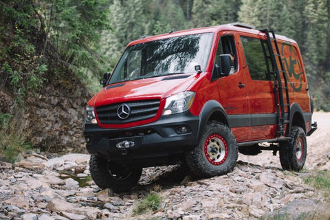"Mercedes Sprinter Van Compass 2"" lift on 35"" tires"