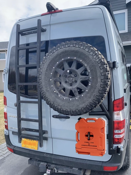 OWL VANS SPRINTER TIRE CARRIER HIGH MOUNT WITH ROTOPAX MOUNT - RIGHT SIDE MOUNTING (2500 OR 3500, 2007-2018)