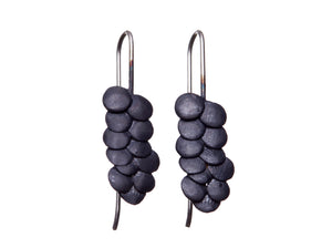 Pebble Oxidised Silver Earrings