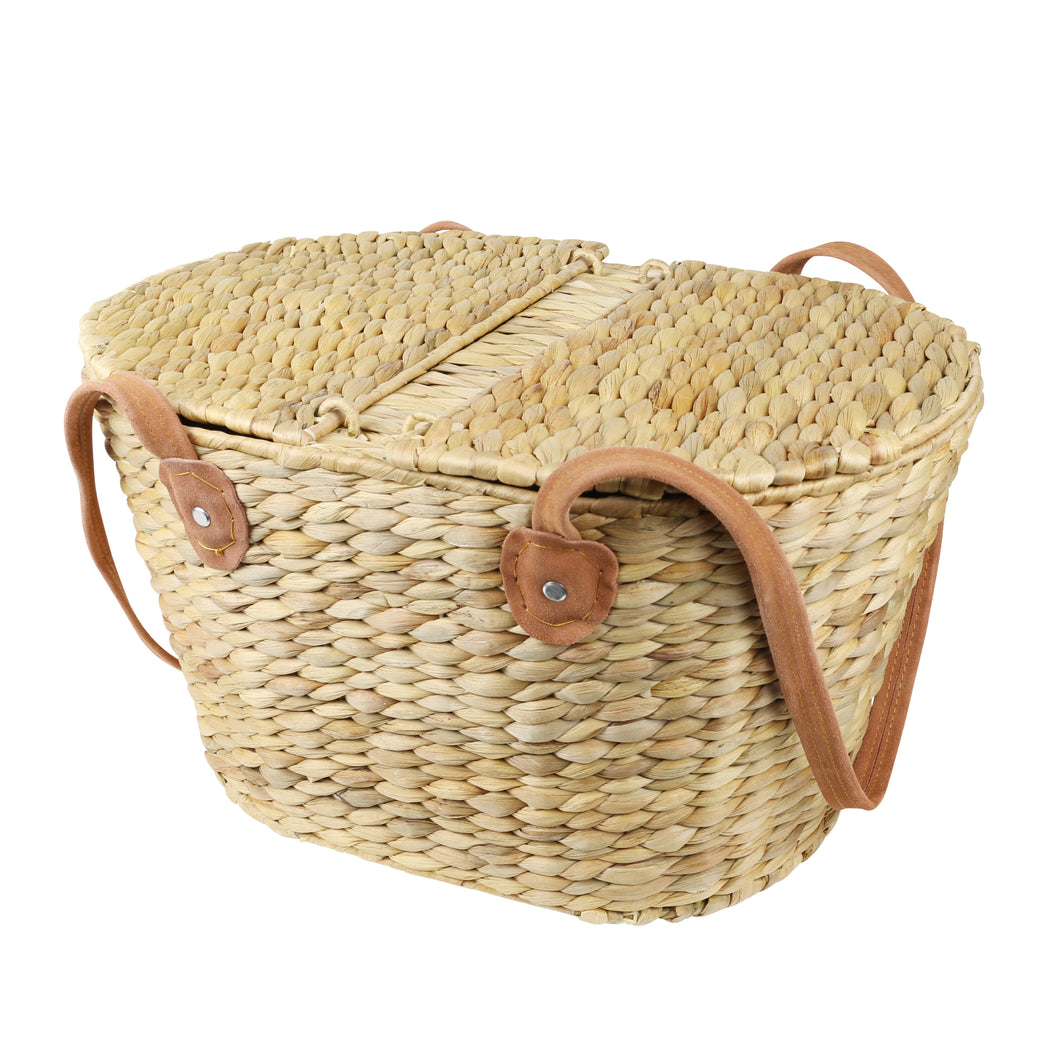 Picnic Basket with Suede Handles