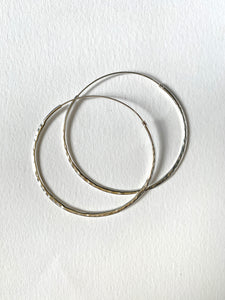Hammered Hoop Earrings | Silver |40mm and 50mm