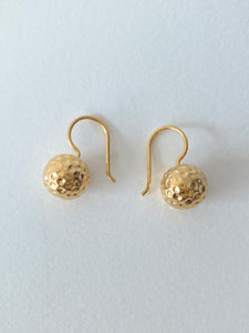 Hammered Ball Earrings | Gold