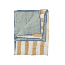Load image into Gallery viewer, Turmeric Stripe/Wasabi Double Sided Quilt