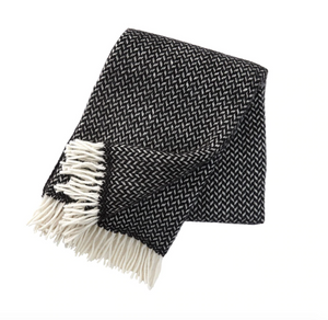 Polka Black Wool Throw