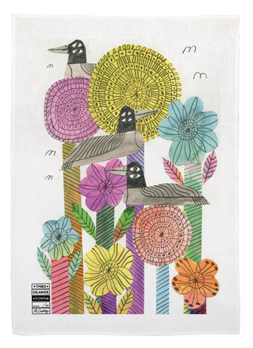 Flowers and Birds (by Marcus Oakley) 100% Linen Tea Towel