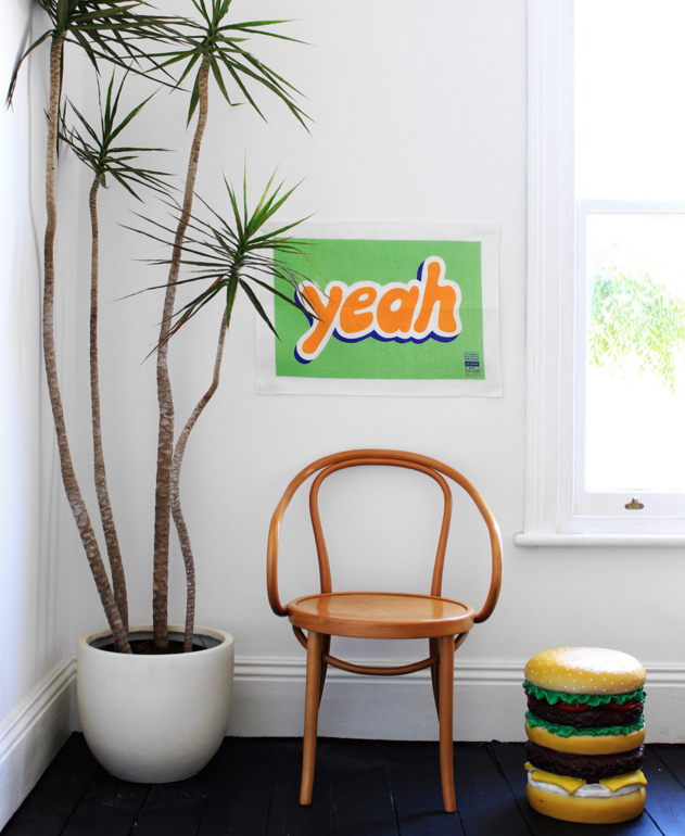 'Yeah' 100% Linen Tea Towel (by Jon Campbell)