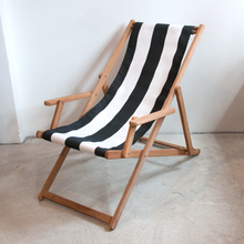 Load image into Gallery viewer, Teak Deckchair with Arms | Block Stripe