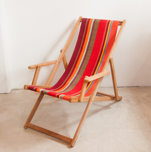 Teak Deckchair with Arms | Cotton Stripe