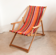 Load image into Gallery viewer, Teak Deckchair with Arms | Cotton Stripe