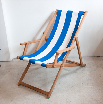 ici et la Teak Deckchair with Arms (Synthetic Block Stripe Range)
