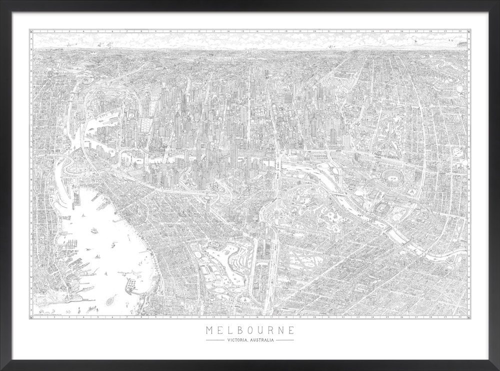 The Melbourne Map | Black & White