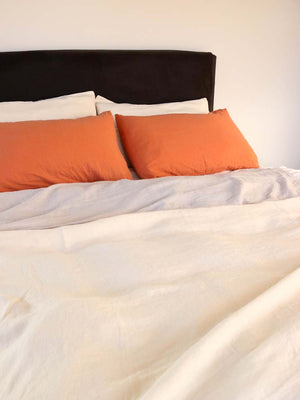 Luxury Linen | Showing Amber, Hibiscus & Fog