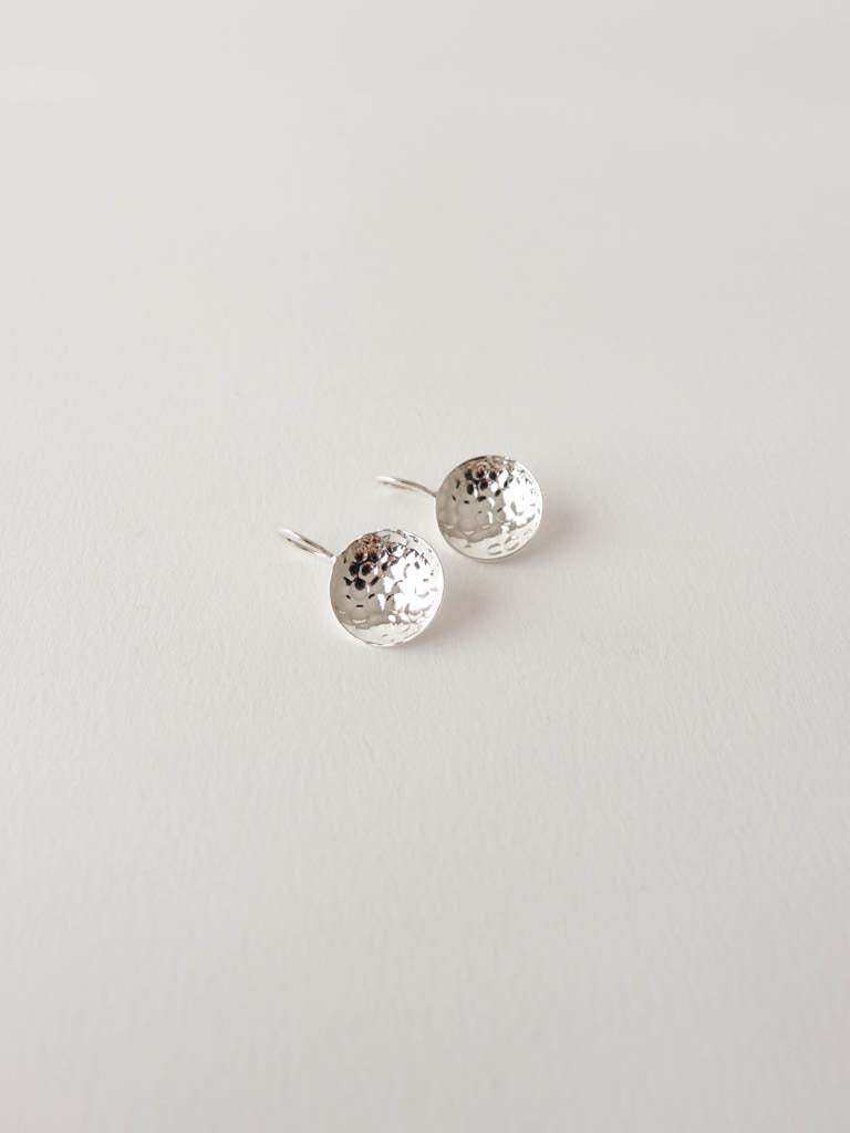 Hammered Dish Earrings | Silver
