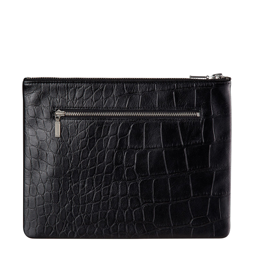 Status Anxiety Antiheroine Clutch in Black Croc Print