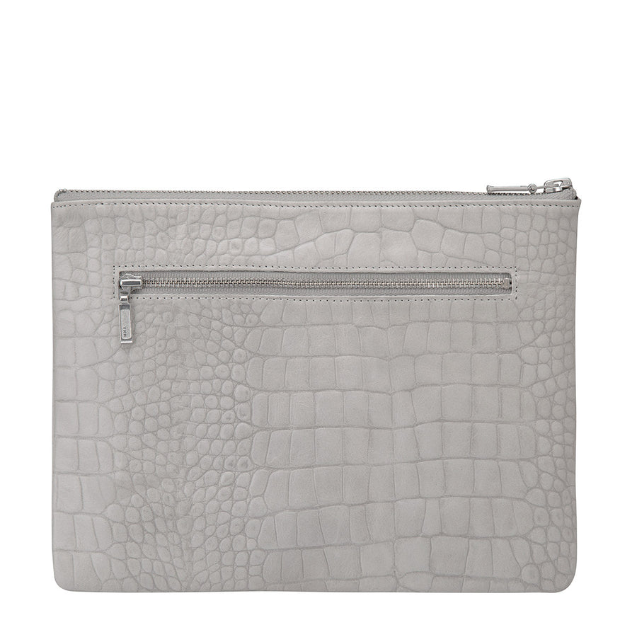 Status Anxiety Antiheroine Clutch in Grey Croc Print