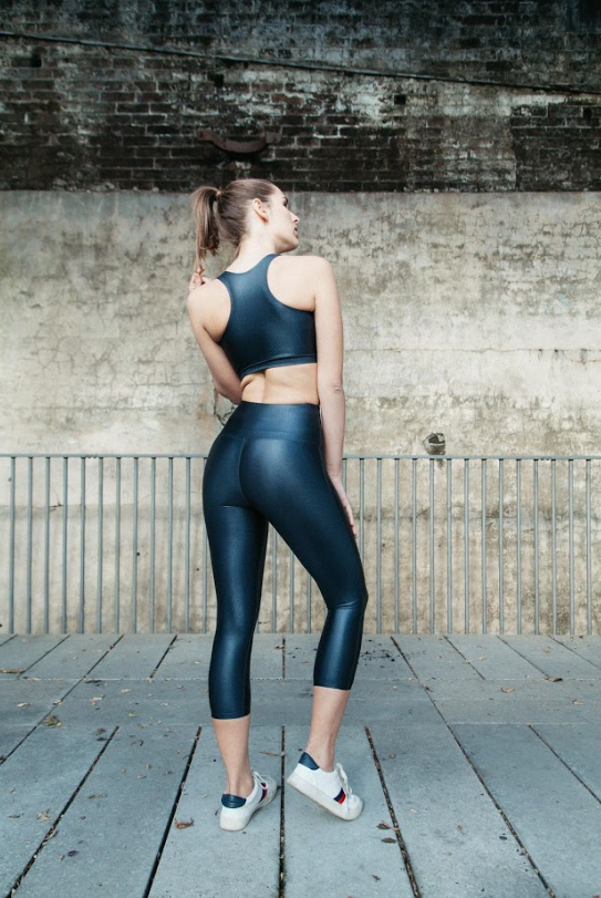 Lustrous Metal grey wet look leggings, high waisted for gym or leisure wear