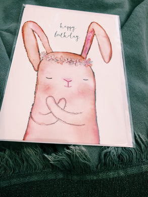 CUDDLY BUNNY HAND PAINTED - HAPPY BIRTHDAY CARD