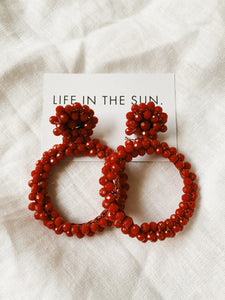 Mila Beaded Red Va Voom Hoops | By: Life in the sun store