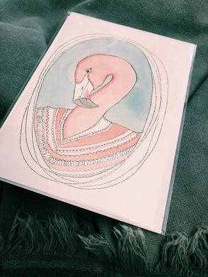 PINK FLAMINGO WATER COLOUR - ALL OCCASIONS CARD - HT4