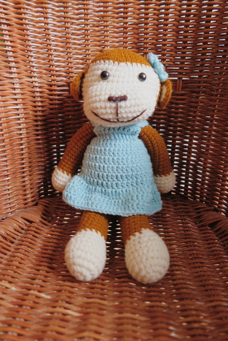 Milla Blue Monkey Crochet Doll