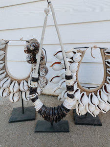 Shell Tribal Neck Piece on Stand - Coastal Inspired Decor