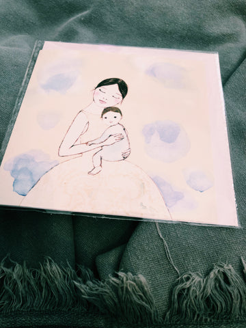 MOTHER AND CHILD - HAND DRAWN ILLUSTRATIVE CARD - Irena-32
