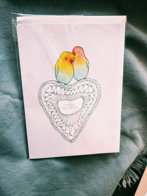VALENTINES LOVE BIRDS CARD - JM18