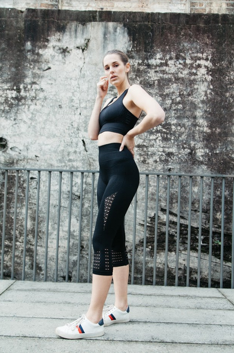 seamless black 7/8ths leggings with laser cut detail at the calf by Gerry Can