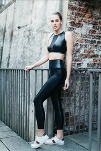 High waisted celine leggings in shiny black wet look Lycra by gerry Can
