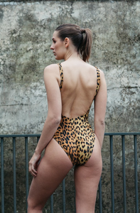 leopard print one piece with high cut leg,scoop front and back by gerrycan