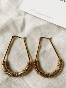Gold hardware Mesh Uber Hoops | By: Life in the sun store