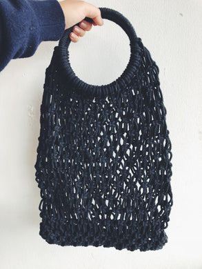 Black Macrame Hoop Carry All Bag