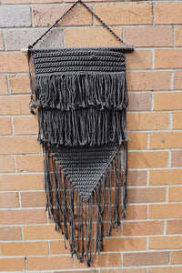 Black Boho Natural Macrame Wall Hanging