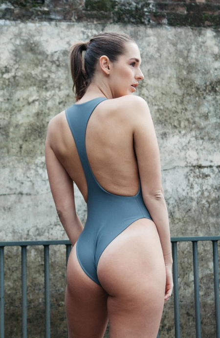 Collins grey one piece, minimal with action back,seamless