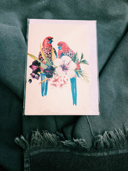 RAINBOW BIRD LOVE - HAND PAINTED CARD - FB118