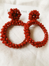 Load image into Gallery viewer, Mila Beaded Red Va Voom Hoops | By: Life in the sun store
