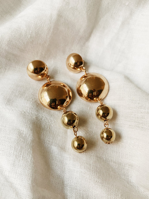 Circle Party Drop Studs Gold  | By: Life in the sun store