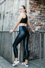 Load image into Gallery viewer, High waisted celine leggings in shiny black wet look Lycra by gerry Can