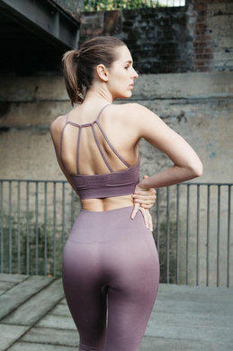 blush pink seamless active crop, compress and support with laser cut detail by Gerry Can