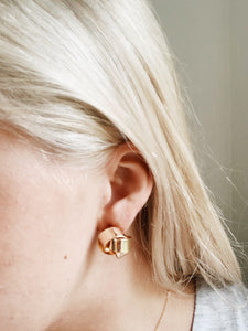 Modern World Round Gold Stud Earrings | By: Life in the sun store