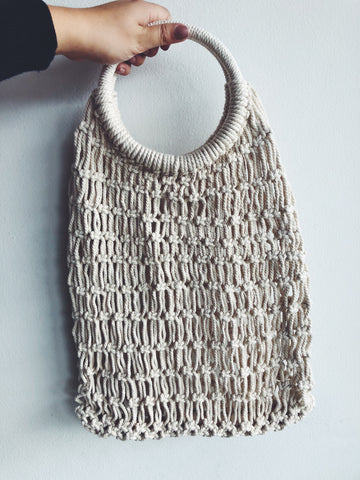 Natural Macrame Hoop Carry All Bag By My Design Store
