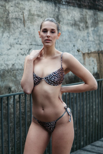the Franky, leopard print underwire bikini with adjustable string tie bottoms