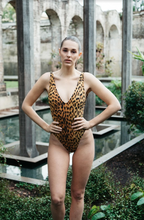 Load image into Gallery viewer, leopard print one piece with high cut leg,scoop front and back by gerrycan