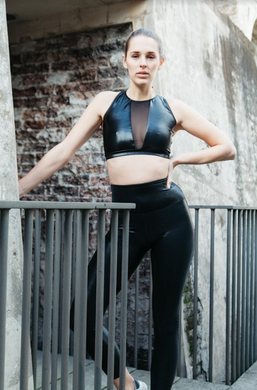 Black Wet look high front crop top with v mesh insert at chest, action back, by gerry can