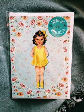 VINTAGE CUT OUT AND DRESS UP CARD - YELLOW - DM3
