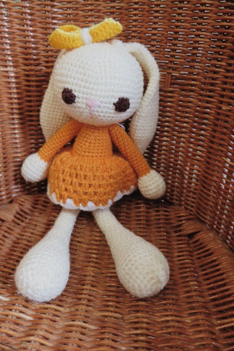 Lola Tangy Orange Crochet Bunny Doll